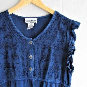 Vintage Northstyle boho embroidered blue blouse